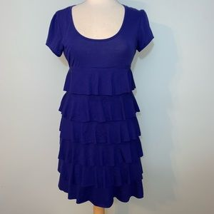 Blue scoop neck dress with ruffle tiers